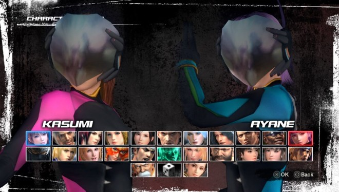 All characters start unlocked in this version,  Kasumi's and Ayane's special VR costumes shown