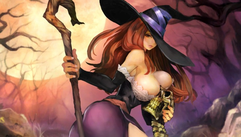The Sorceress can summon skeleton warriors, food and is best used in a support role.  And, yes, she's busty.