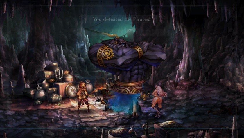 Different dungeons include a pirate-infested cave.  Steal their genie and use it against them!