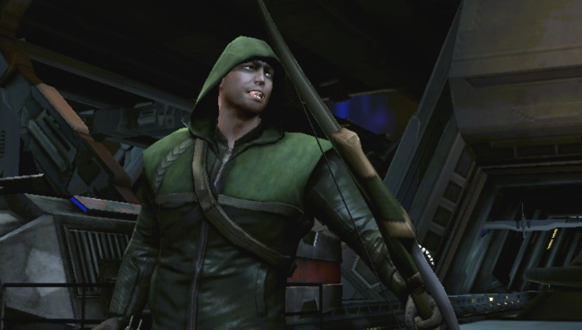 Previously DLC skins like this ARROW-inspired Green Arrow skins are included and are unlocked.  Bonus for this one:  The voice changes over to Stephen Amell's.