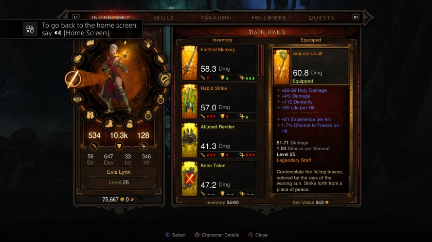 Inventory and Skill page are access through the PS4 touchpad