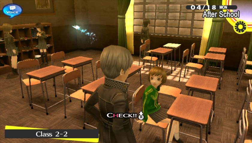 "The min character is talking up Chie.  ""How YOU doin'?"""