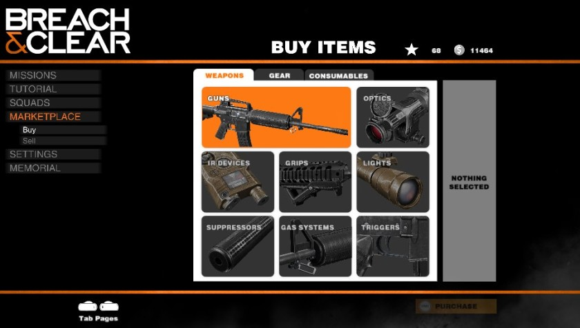 Equipment can be unlocked and bought wit in-game currency