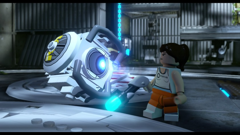 Chell interacts with Wheatley in the Portal 2 level.
