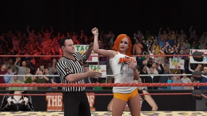 Nanci Drew (in her Part-Time Job attire) wins another match
